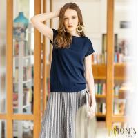 MONS國際精品船型領蠶絲針織上衣