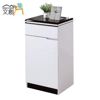 文創集 圖格 時尚白1.3尺單門雙面低鞋櫃/玄關櫃