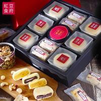 現購-[紅豆食府SH]欣月中秋禮盒(蘇式月餅*6+牛軋派*4+綜合堅果*1)-提盒型禮盒