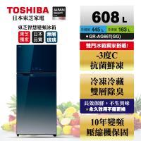 【滿額登記搶大同電子鍋】TOSHIBA 東芝608公升一級能效雙門鏡面冰箱 漸層藍GR-AG66T(GG)