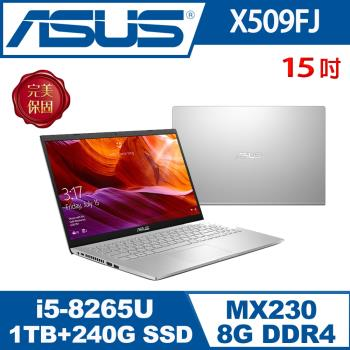 (改機升級)ASUS華碩 X509FJ-0131S8265U 輕薄筆電 冰河銀 15吋/i5-8265U/8G/1T+240G/MX230/W10