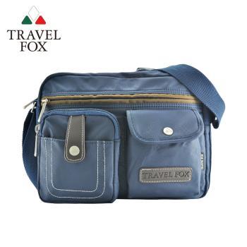 📣限時全館79折📣TRAVEL FOX 旅狐 撞色雙層隨身斜背包 (TB605-47) 藍色