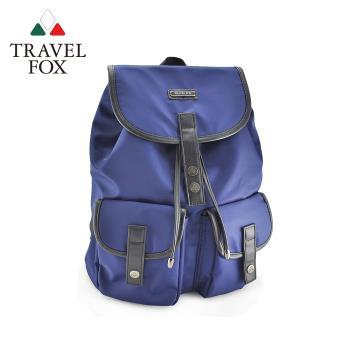 TRAVEL FOX 旅狐 城市系雙口袋束口水桶後背包 (TB697-47) 藍色