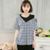 全尺碼-襯衫格子襯衫領露肩假兩件連身洋裝(共二色)lingling