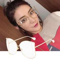 BeLiz精選75折-蝴蝶削框 珍珠金屬鏡架平光眼鏡 金框白