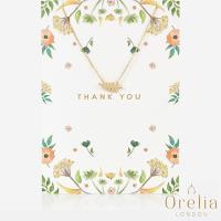 英國 Orelia Thank You Leaf Gift Card 時尚質感葉子鍍金墜飾項鍊(附禮品卡)
