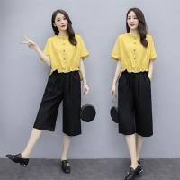 【REKO】日系清新休閒舒適上衣+寬鬆闊腿褲二件式套裝S-3XL(共四色)
