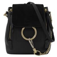 CHLOE FAYE Mini 經典C環扣麂皮拼接三用後背包.黑