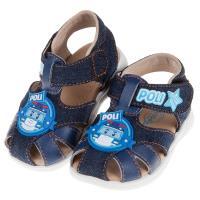 《布布童鞋》POLI救援小英雄波力牛仔藍色寶寶護趾涼鞋(13.5~15公分) [ B9H116B ]