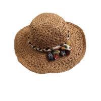 【米蘭精品】草帽遮陽帽-手工鈎織綁帶可摺疊女帽子4款73vq14