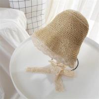 【米蘭精品】草帽遮陽帽-蕾絲花邊綁帶可摺疊女帽子2色73vq17