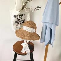 【米蘭精品】草帽遮陽帽-蕾絲綁帶大帽簷可摺疊女帽子2色73vq24