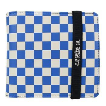 agnes b.棋盤格束帶LOGO短夾(藍)