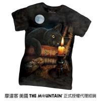 摩達客-The Mountain 魔法貓時刻 短袖女長版T恤精梳棉環保染