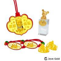 Disney迪士尼系列金飾 黃金彌月印章套組木盒-如意維尼款+米奇造型印章 0.35錢