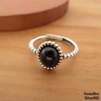 【海洋盒子】簡約復古黑色鋯石橢圓滾邊可調式925純銀戒指