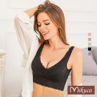 Mikuco  無鋼圈全蕾絲後交叉美背舒適內衣