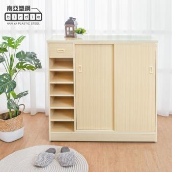 Birdie南亞塑鋼-3.5尺拉門/推門單抽左開放塑鋼開放鞋櫃(白橡色)