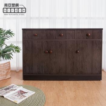 Birdie南亞塑鋼-4.2尺三門三抽塑鋼電器櫃/收納餐櫃(胡桃色)