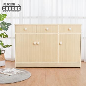 Birdie南亞塑鋼-4.2尺三門三抽塑鋼電器櫃/收納餐櫃(白橡色)