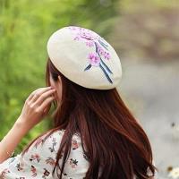 【米蘭精品】貝雷帽畫家帽立體粉色花朵刺繡女帽子73vt12