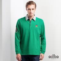 oillio歐洲貴族 男款 加大尺碼 彈力萊卡 吸濕舒適透氣 黃金比例97+3 長袖POLO衫 綠色 -男款 特殊設計領 質感躍昇