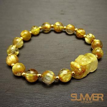 SUMMER 寶石 5A貓眼黃金板鈦貔貅18K金手鍊(隨機出貨)