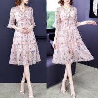 韓國K.W. (預購) 女人話題甜美樂活荷葉袖抽繩印花洋裝