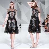 KEITH-WILL歐風 (預購) 夏日氣質通勤網紗涼感印花洋裝