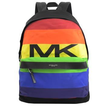 MICHAEL KORS KENT 輕量系彩虹條紋尼龍皮飾邊後背包
