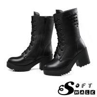 【SOFT WALK舒步】個性鉚釘綁帶真皮馬丁靴機車靴黑
