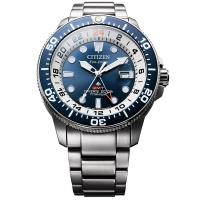 CITIZEN 星辰 限量 鈦 GMT光動能潛水錶-藍x銀/43mm BJ7111-86L
