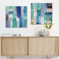TROMSO-時尚無框畫_50x50cm兩幅一組 意境藍綠