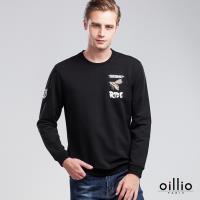 oillio歐洲貴族 男裝 亮眼霸王蜂 舒適自然棉 萊卡彈性 吸濕不悶熱 細膩觸感 長袖T恤 黑色-男款 低調奢華 縮口下擺