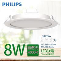 【PHILIPS 飛利浦】LED薄型崁燈 8W 自然光 4000K DN020B