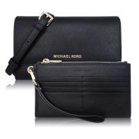 Michael Kors 新款JET SET 系列3WAY 輕便子母夾斜背包鍊包-黑色