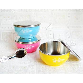 【YourShop】台灣製#304不鏽鋼雙層兒童隔熱碗便當杯組(不鏽鋼蓋)