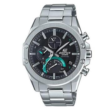 【CASIO】EDIFICE 薄型藍牙太陽能不鏽鋼錶-黑面(EQB-1000D-1A)