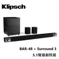 Klipsch 古力奇 Soundbar BAR 48 + Surround 3 無線環繞喇叭 5.1聲道劇院組 公司貨