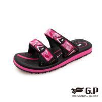 G.P 女款簡約織帶風格雙帶拖鞋G0573W-黑桃色(SIZE:36-39 共三色)