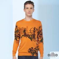 oillio歐洲貴族 男裝 頂級天絲棉 親膚自然棉 古典戰士車馬奔騰 吸濕不悶 長袖針織衫 線衫 黃色-男裝 獨特品味 典雅男人必備
