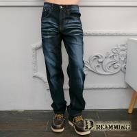【Dreamming】皺痕刷色伸縮休閒直筒牛仔褲(深藍)