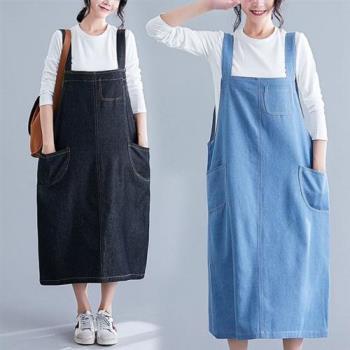 【Keer】百搭純色吊帶背心大口袋牛仔裙L-XL(共二色)