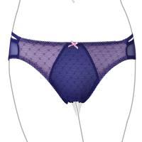 【EASY SHOP】善變提花 低腰細帶三角褲(藍戀紫)