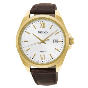 SEIKO 精工 CS系列簡約大三針時尚手錶/金x咖啡/42mm(6N42-00H0J/SUR284P1)