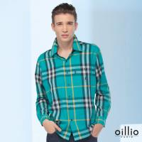 oillio歐洲貴族 男裝  舒適親膚 不過敏純棉長袖襯衫 型男款式 質感搭配 綠配色線條 綠色-男款 吸濕健康自然棉 輕鬆好穿著