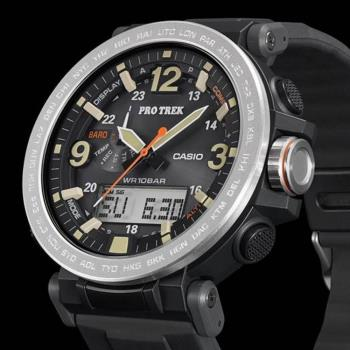 CASIO PRO TREK 數字大刻度雙顯戶外運動登山錶-銀框(PRG-600-1D)