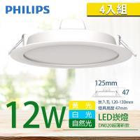 4入組【PHILIPS 飛利浦】LED薄型崁燈  12W  DN020B