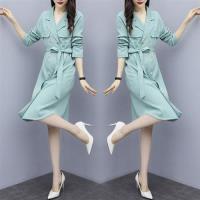 【KVOLL】韓版雙排釦繫帶連衣裙風衣外套L-4XL(共三色)