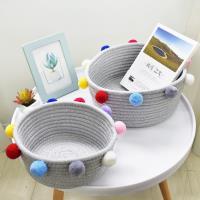 收納職人 簡約北歐ins風棉線毛球編織裝飾置物籃/收納籃_彩色(小)